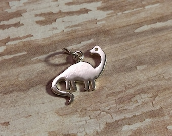 Solid Sterling Silver Brontosaurus Charm, 925 Sterling Silver Dinosaur Pendant, Earring Jewelry, Necklace Findings, Dino
