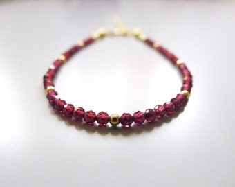 Aliysha Stacking Bracelet / Garnet / 14k Gold-filled