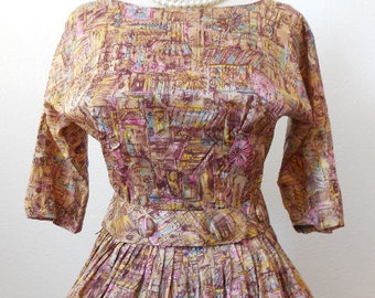 Vintage 50s Novelty Print Satin Dress Pin Up Bombshell Medium Full Skirt Party Dress