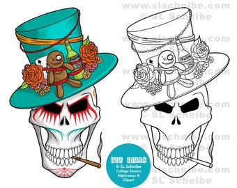 Digital stamp, Voodoo King Skull, Day of the Dead, digistamp, instant download