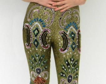 Vintage Hand-Beaded Couture Pants   1970s