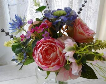 Artificial Country garden hand picked silk floral arrangement. Rose's Sweet peas, lavender. Peonies