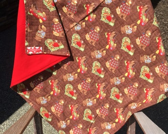 Flannel Baby Blanket / Kid Car Blanket - Bears in the Woods, Log Cabin Bears, Lodge Bears, Personalization Available