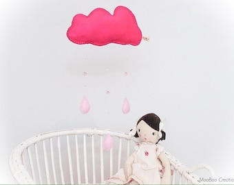 Mobile - cloud mobile - raindrop mobile - felt cloud mobile - nursery decor - baby gift - made in UK - Made to order