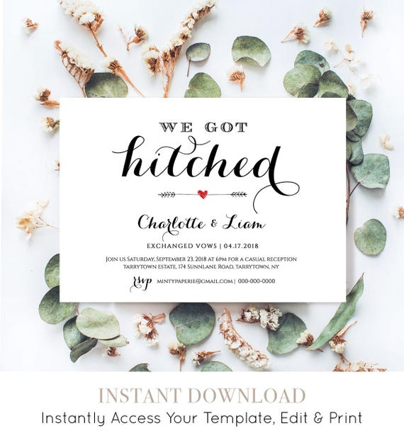 Elope Announcement Template, DIY Wedding Elopement Invitation Printable, We Got Hitched, Instant Download, Fully Editable, Digital #NC-201EL