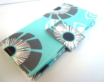 Fabric Checkbook Cover, Checkbook Holder  Cash Holder Coupon Holder - Aqua with Gray Floral