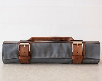 Waxed Canvas & Leather Chef's Roll // waxed knife roll by fullgive in grey and bison