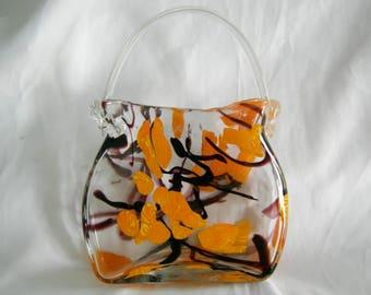 POCKETBOOK VASE | Hand Blown Pocketbbook Motif Art Glass Vase | Murano Leonardo | Vintage