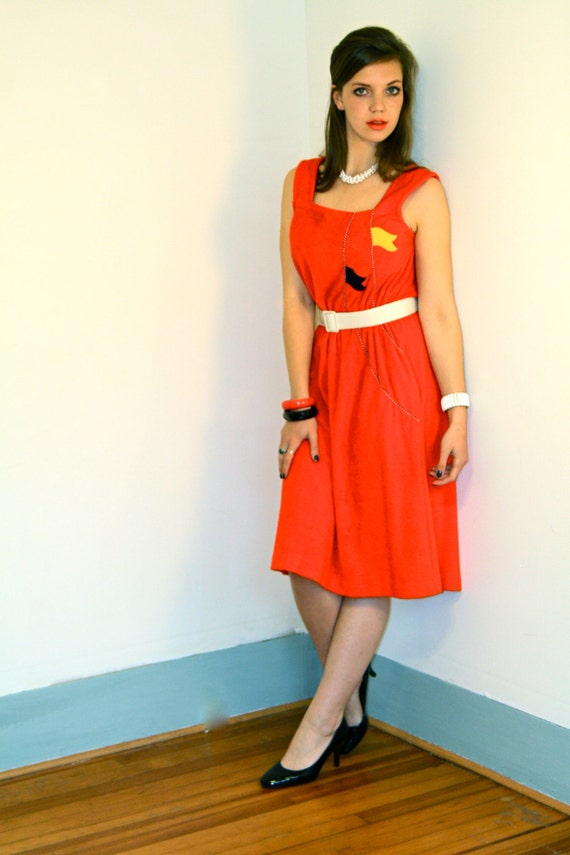Nautical theme dress, Red sailor dress, 1970s beach dress, Terry Cloth dress, Vintage 70s dress, Red towel dress, Beach cover up, Size L XL
