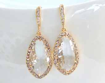 Wedding Jewelry, Bridal Earrings, Clear Earrings, Crystal, Transparent, Gold, Cubic Zirconia, Bridesmaid Earrings, Dangle, Bridesmaids Gifts