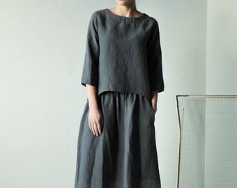 Long Sleeves dark grey linen blouse, women linen top from Lithuanian linen, loose linen blouse,