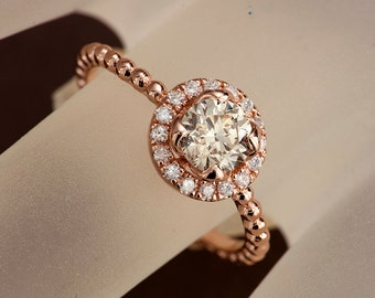 Champagne Diamond Engagement Ring in Solid Rose Gold, with beaded band and diamond halo