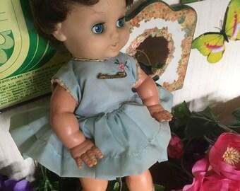 Vintage 50's 60's Bella Baby Doll Toy Blue Collectible Retro Nursery Kitsch