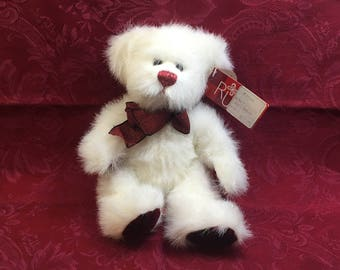 Russ Berrie Twinkles Teddy Bear, Valentines Day Bear, White Bear with Red Paws,  Sparkle Fur, Ruby Red Paws and Ribbon, Russ Twinkles Bear