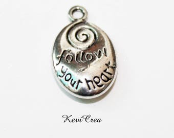 10 x charms FOLLOW YOUR HEART silver charms