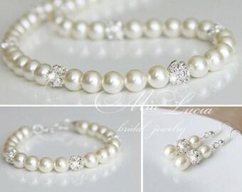 Wedding Jewelry Set, Swarovski Pearl Bridal Jewelry Set, Pearl Necklace Earrings Bracelet Set,  art. e02-b04-n01