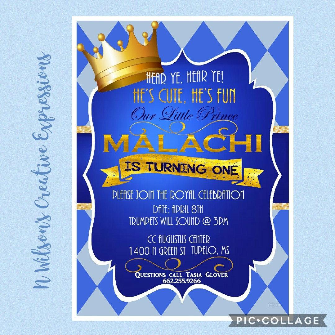 Royal Prince Themed My First Birthday Invitation Invite