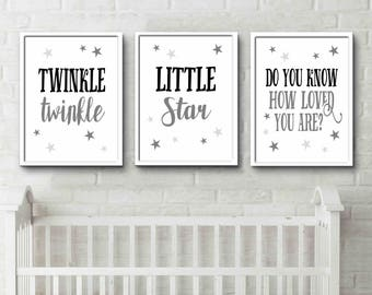 Monochrome Nursery Twinkle Twinkle Little Star Do you know how loved you are grey nursery posters custom colours available