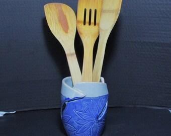Ceramic utensil holder. Kitchen storage Utensil caddy. Unique utensil holder. Modern kitchen decor. Handmade ceramic utensil holder caddy