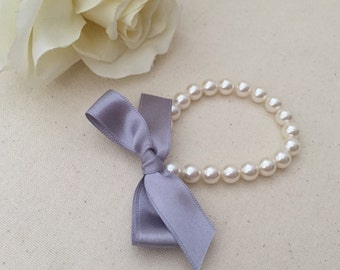 Little Girl Pearl Bracelet with silver ribbon for flower girls, toddler birthday, babies photo prop, birthday girl, birthday party