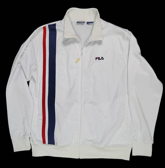 Fila Sweatshirt Jacket Hood Bomber Zip Vintage Men Women White Red Navy Blue Oldschool MTihWn0zbW