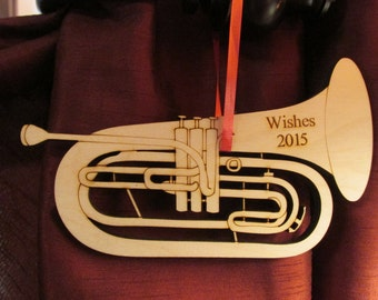 """Laser cut and engraved wooden """"Baritone"""" Ornament"""