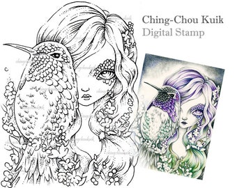 Awake in Purple Dream - Digital Stamp Instant Download / Fantasy Art by Ching-Chou Kuik