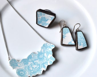 Cut Out Recycled China Necklace - Turquoise Cut out Flower Necklace, Earring and Ring Set