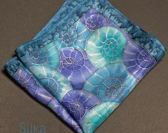 Silk pocket square blue pocket square Valentines gift for him   sea creatures nautical  wedding pocket square  mens handkerchief for divers