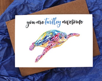 Turtle Greetings Card ~ turtle birthday card, turtle anniversary card, turtle thank you card, pun card, funny birthday card, funny card
