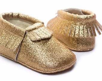 Gold Glitter Moccasins, Gold Baby Moccasins, Baby Girls Shoes, Gold Baby Shoes, Baby Shoes, Newborn Mocassins, Baby Mocassins