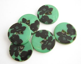 Natural shell buttons with fower print and green background, unused mother of pear buttons, 21 mm
