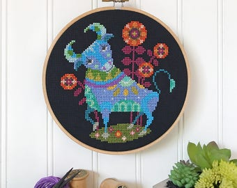 Taurus - zodiac sign - Satsuma Street modern cross stitch pattern PDF - Instant download