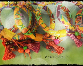 Bracelet VERACRUZ - leather fabric, yellow ocher predominantly yellow and orange metallic beads and wood in assorted colors