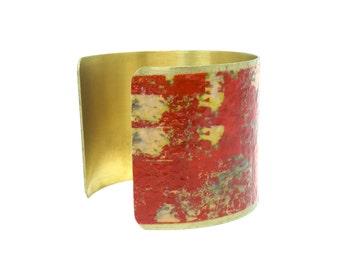 Handmade Jewelry - Brass Cuff Bracelet - Orange Bracelet - Statement Bracelets - Gifts for Women - Romantic Gift - Bangle Bracelet