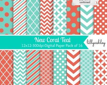 Digital Paper Pack of 16--JPG 12x12 Commercial Use Digital Paper Coral Digital Paper Teal Digital Paper Aqua Teal & Coral Chevron Paper
