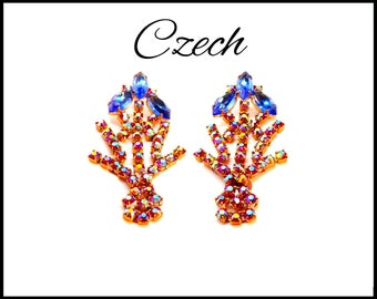CZECH Aurora Borealis Rhinestone Earrings, Royal Blue AB & Pink AB, Shoulder Dusters, Stage Performance, Mothers Day Gift For Her