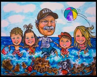 Custom caricature, retirement gift, retirement women, retirement men, personalized cartoon, personalized caricature, family portrait,