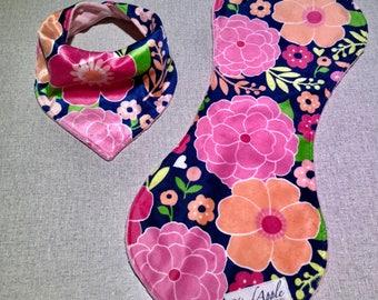 Floral bib and burp cloth