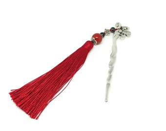 Red tassel bookmark