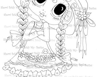 INSTANT DOWNLOAD Digital Digi Stamps My Besties TM Big Eye Big Head Dolls Digi IMG064 By Sherri Baldy