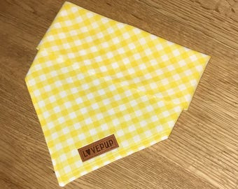 Tie Up Dog Bandana - Yellow Gingham