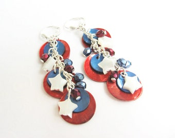 Red White and Blue Earrings, Summer Jewelry, Dangling Shell Earrings, Patriotic Jewelry, Independence Day Star Earrings, Fourth of July