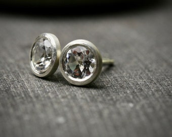 Large round bezel set white topaz sterling silver stud earrings 5mm