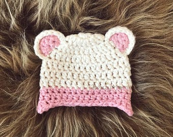 Organic Baby hat, Little Bear hat, Natural cotton baby hat