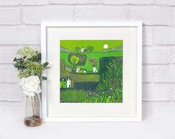 """Summer Meadow Flowers Art Print, Square Green Fine Art, Flower Art Prints, Unframed Landscape 8"""" x 8"""" Giclee Print, Nature Block Print Art"""