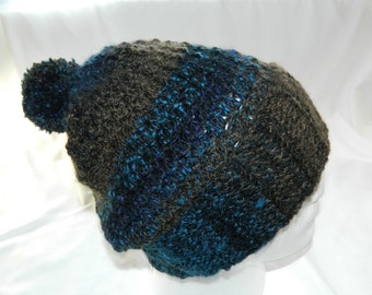 Crocheted Rustic City Slouchy Beanie Hat with Pom in Brown, Purple, Teal, and Black