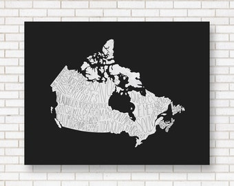 Canada Map Print - Typography Map - Provinces and Territories of Canada - Hand lettering - Wall Art - Living Room Poster - Art Print