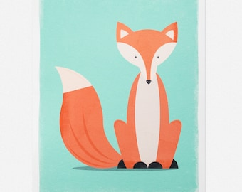 "Sitting Fox Giclée Art Print 7 x 5"" / 8 x 10"""