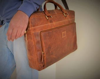 17 or 15 Inch Leather Satchel / Leather Laptop Bag / Vintage Leather Briefcase / Rustic Briefcase / Mens Briefcase Genuine Real Leather